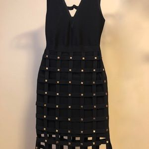 Bebe Studded Cage Bandage Bodycon Black Dress
